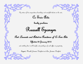 Ce Soir Certificate for Russell Eponym